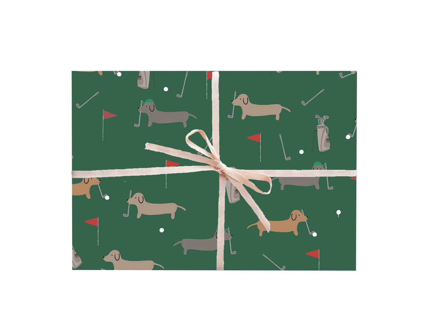 Dachshunds Golfing Gift Wrap - Rolls and Sheets
