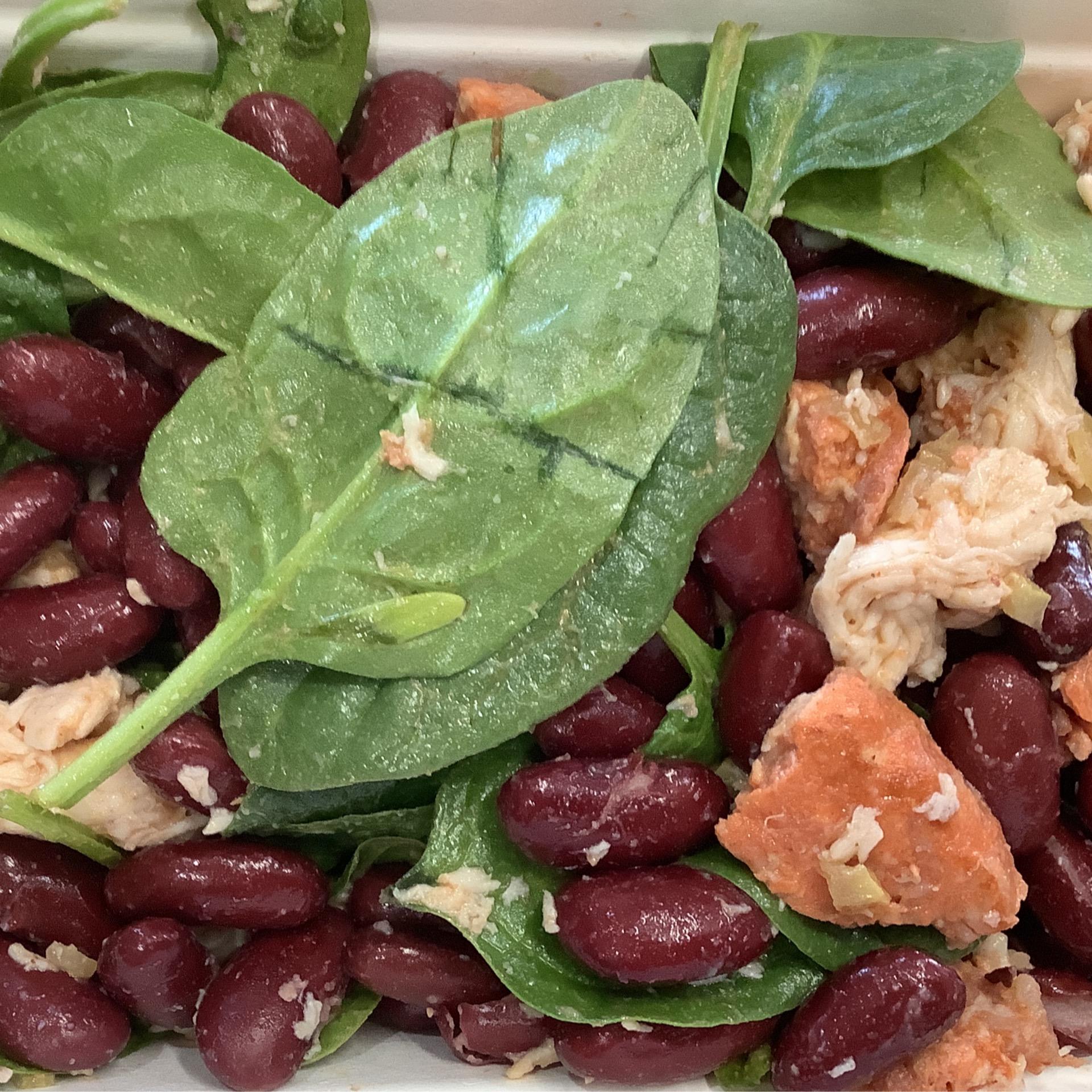 Chicken , kidney bean and chorizo ,spinach salad