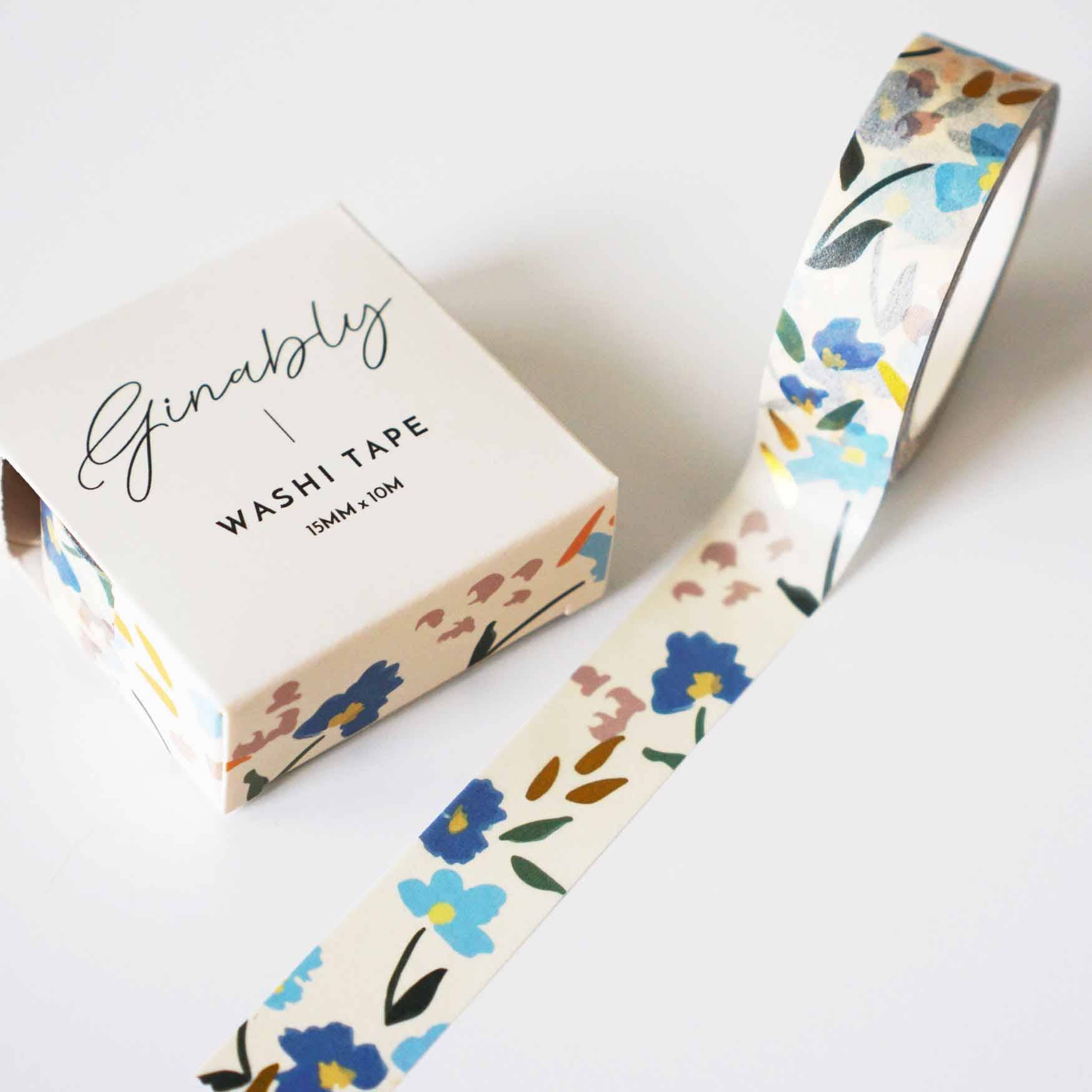 Blue Floral Gold Foil Washi Tape