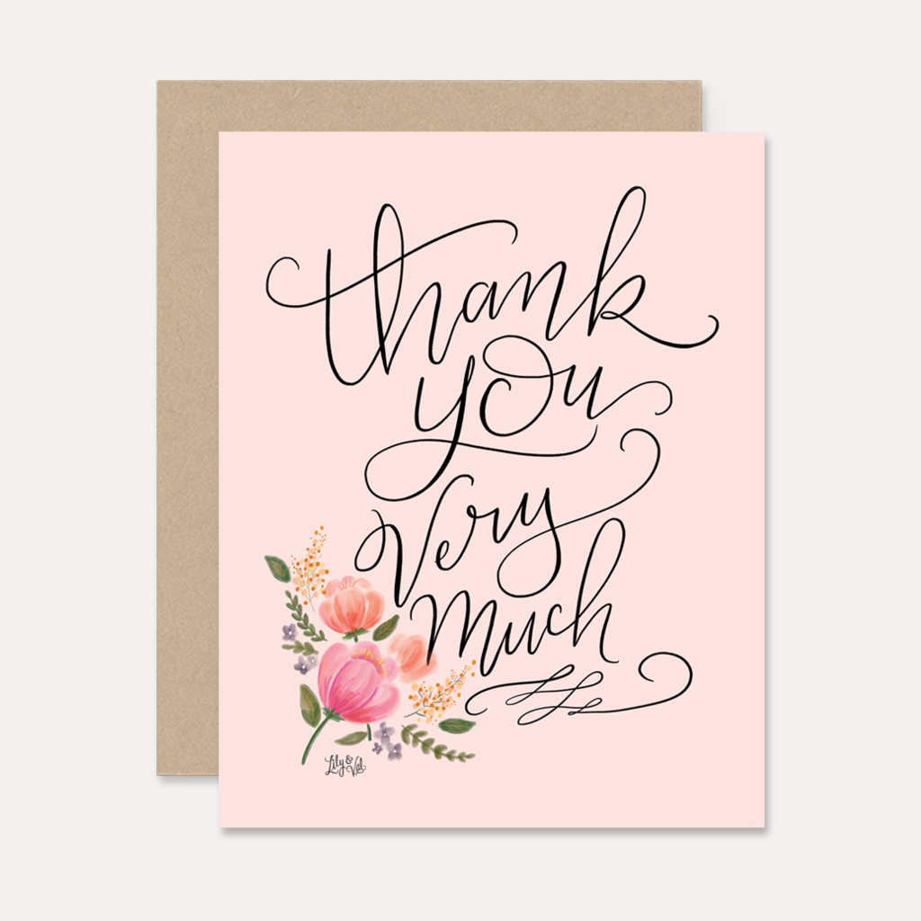 Thank You Very Much On Pink - A2 Note Card