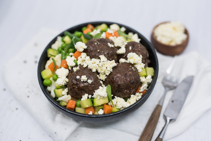 Moroccan Spiced Beef Patties with Seasonal Vegetables