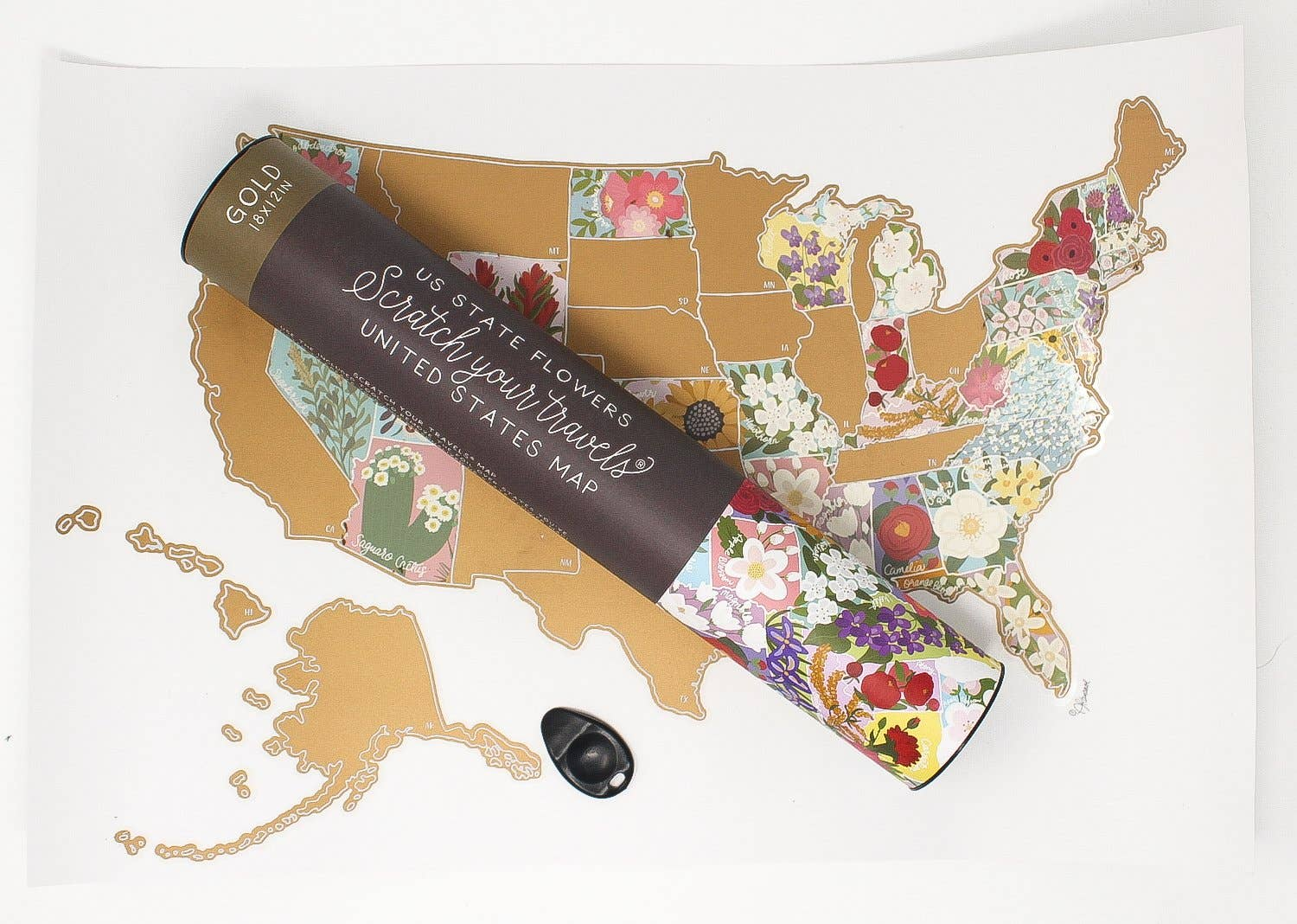 Scratch Your Travels State Flowers USA Map