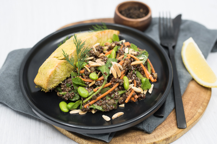 Dill Roasted Salmon with Quinoa and Lentils