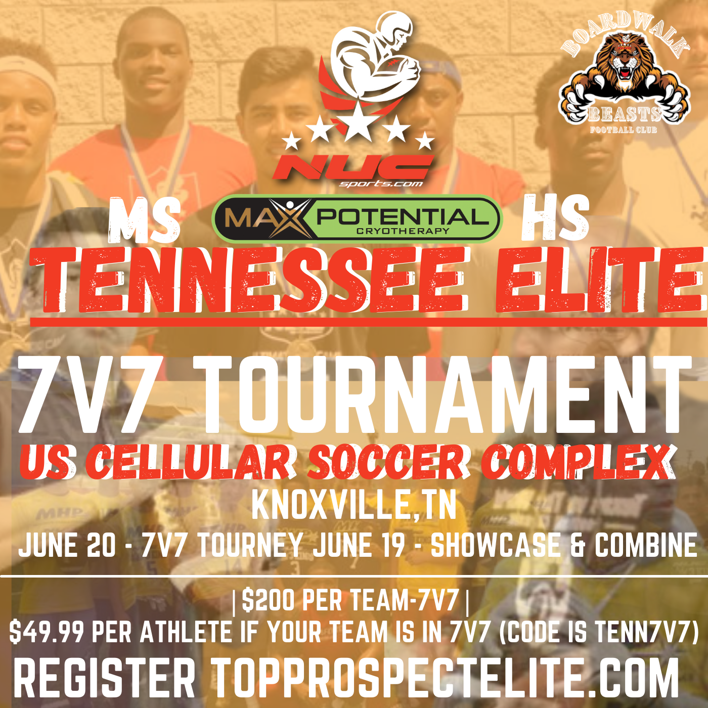Tennessee Elite 7v7 Tournament for Middle School and High School June 20th, 2021, Knoxville, TN