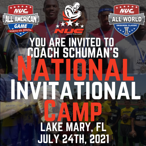 Coach Schuman's National invitational Camp, July 24th, 2021  Orlando, FL