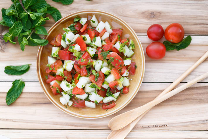 Mediterranean Pilaf with Tomato and Cucumber Salad
