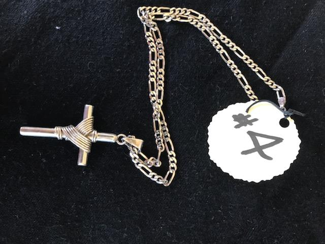 #4-One silver necklace, with cross pendant