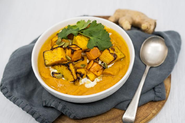 Thai Roast Pumpkin and Sweet Potato Soup
