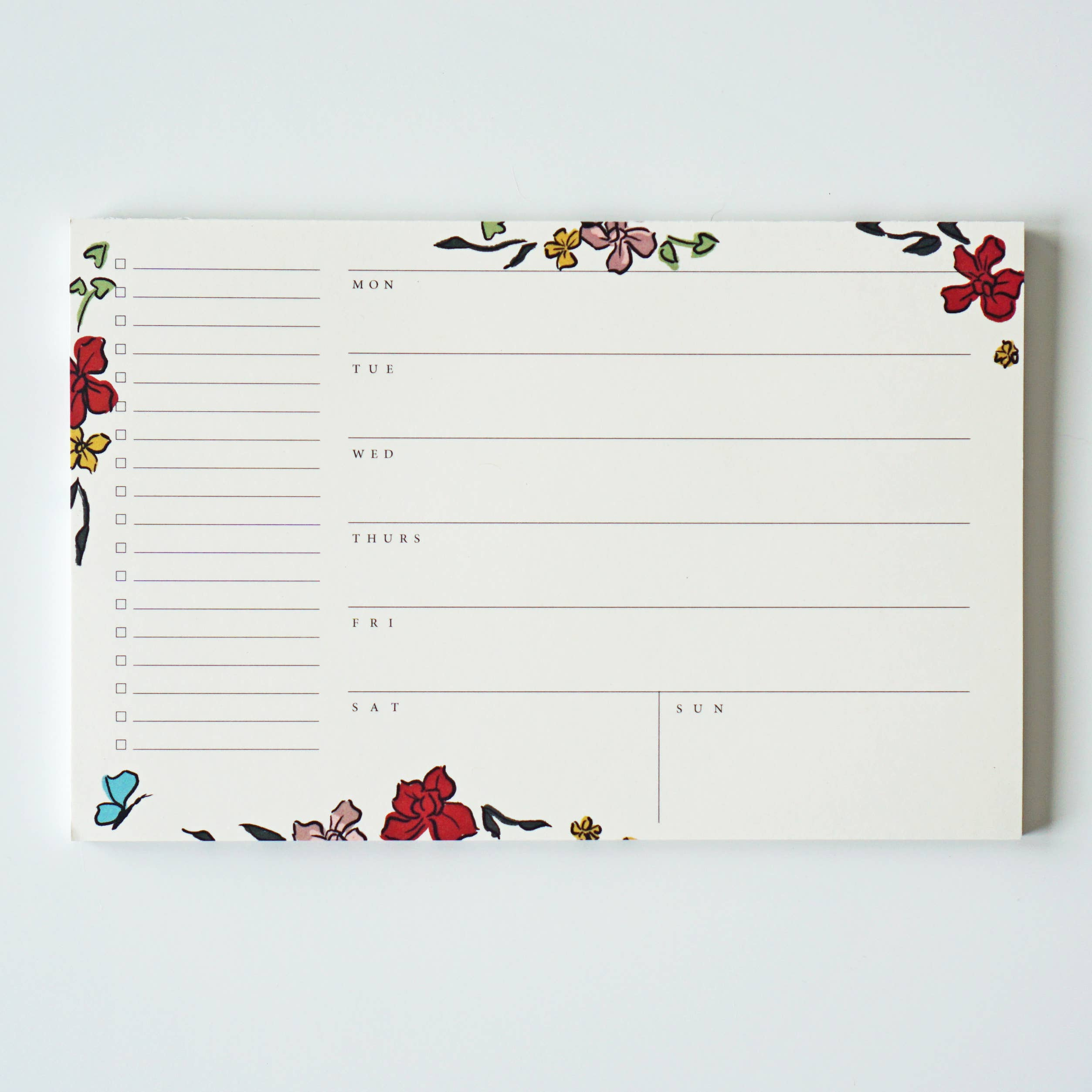 Cream Floral Weekly Planner Notepad