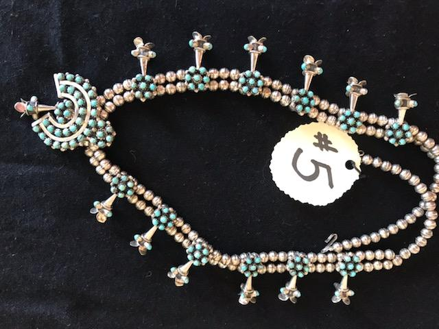 #5-One silver and turquoise squash blossom necklace
