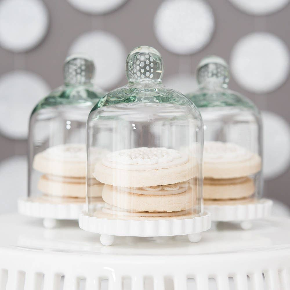 Small Glass Bell Jar With White Base Wedding Favor (4)