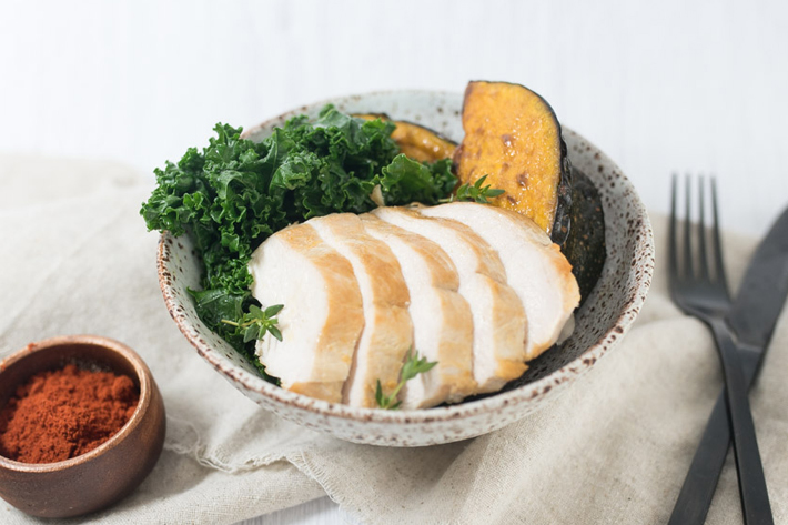 Pan Fried Chicken with Roasted Pumpkin and Kale