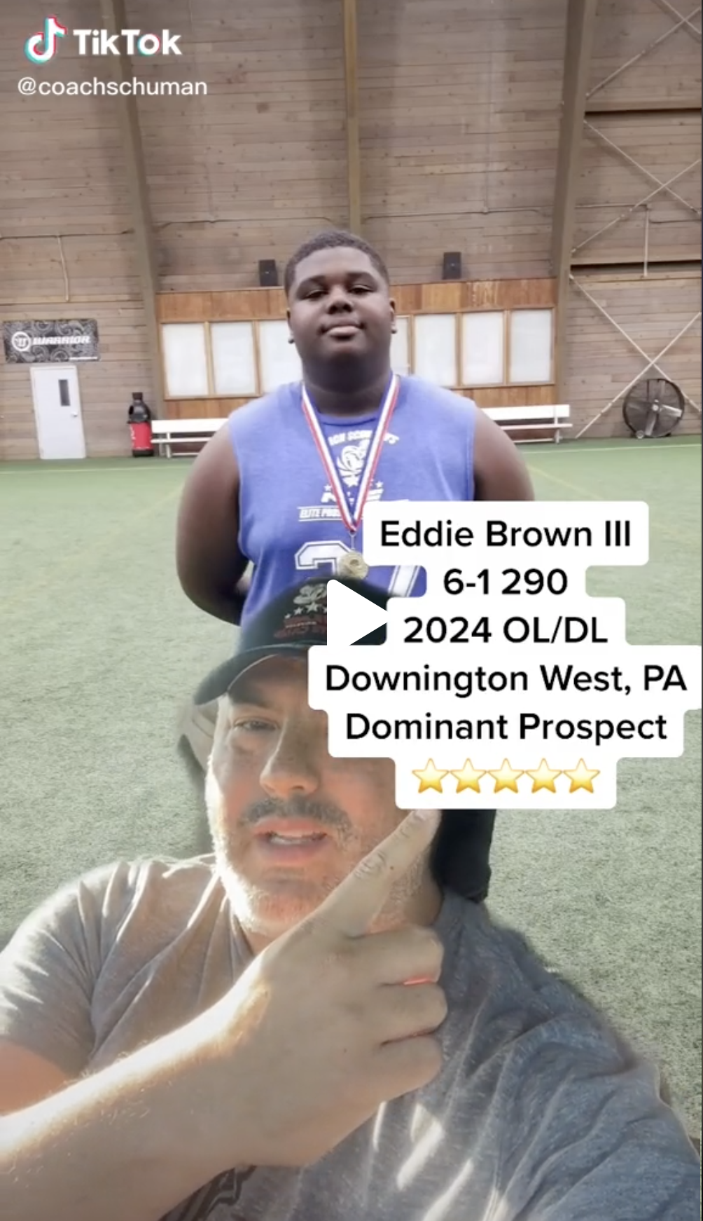 Tik Tok Video Made with Coach Schuman of You and Analyzing you as a player and posted to Tik Tok, Twiter, Instagram