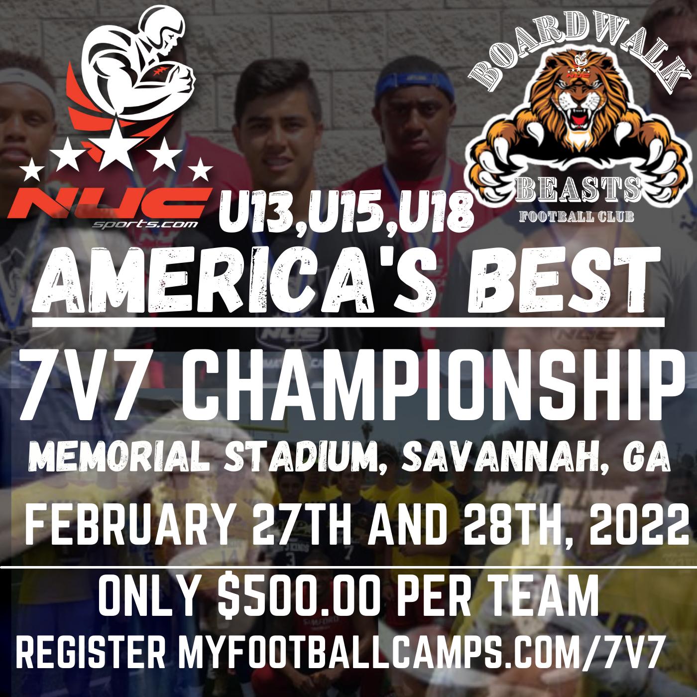 America's Best Elite 7v7 Tournament for U13,U15,U18 Memorial Stadium, Savannah, GA February 27th & 28th, 2022