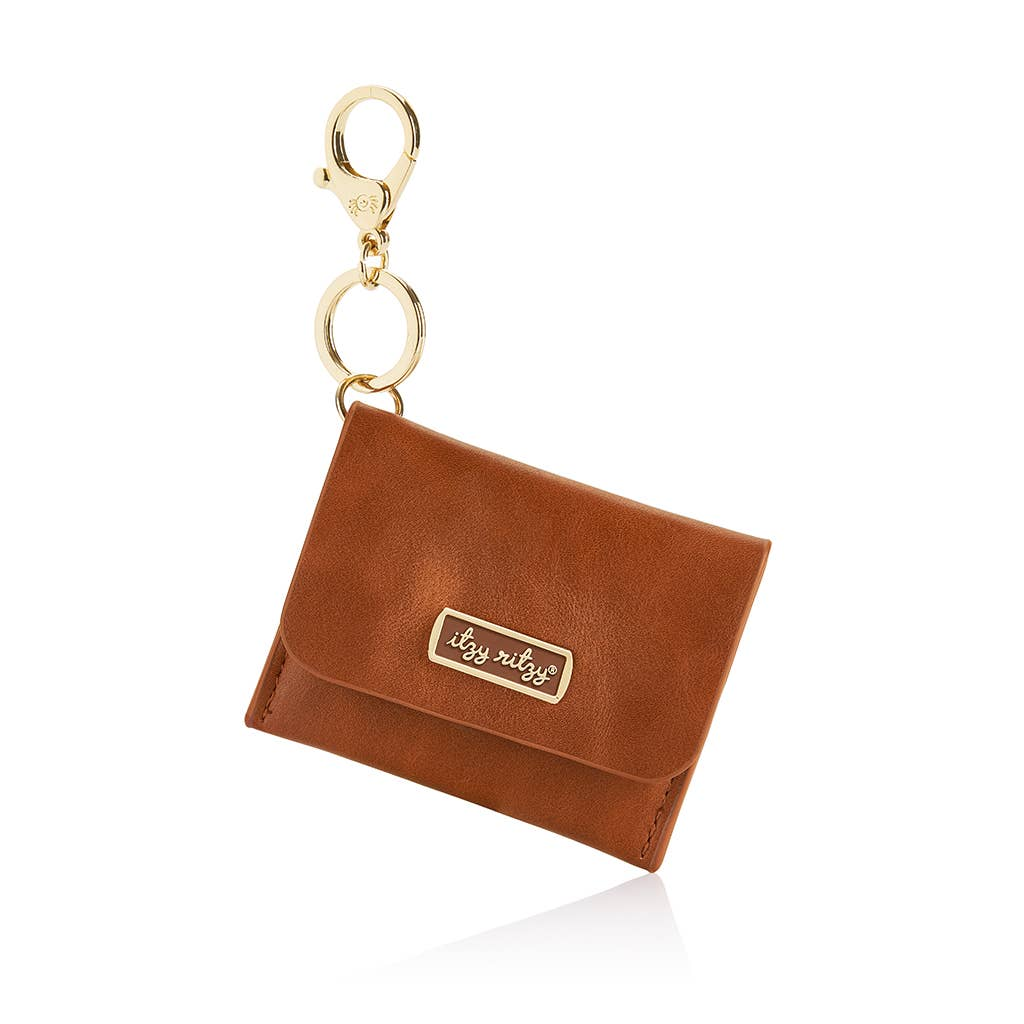 Cognac Itzy Mini Wallet™ Card Holder & Key Chain Charm