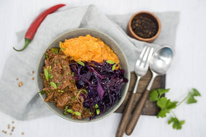Slow Cooked Chilli Pork with Winter Root Vegetable Mash