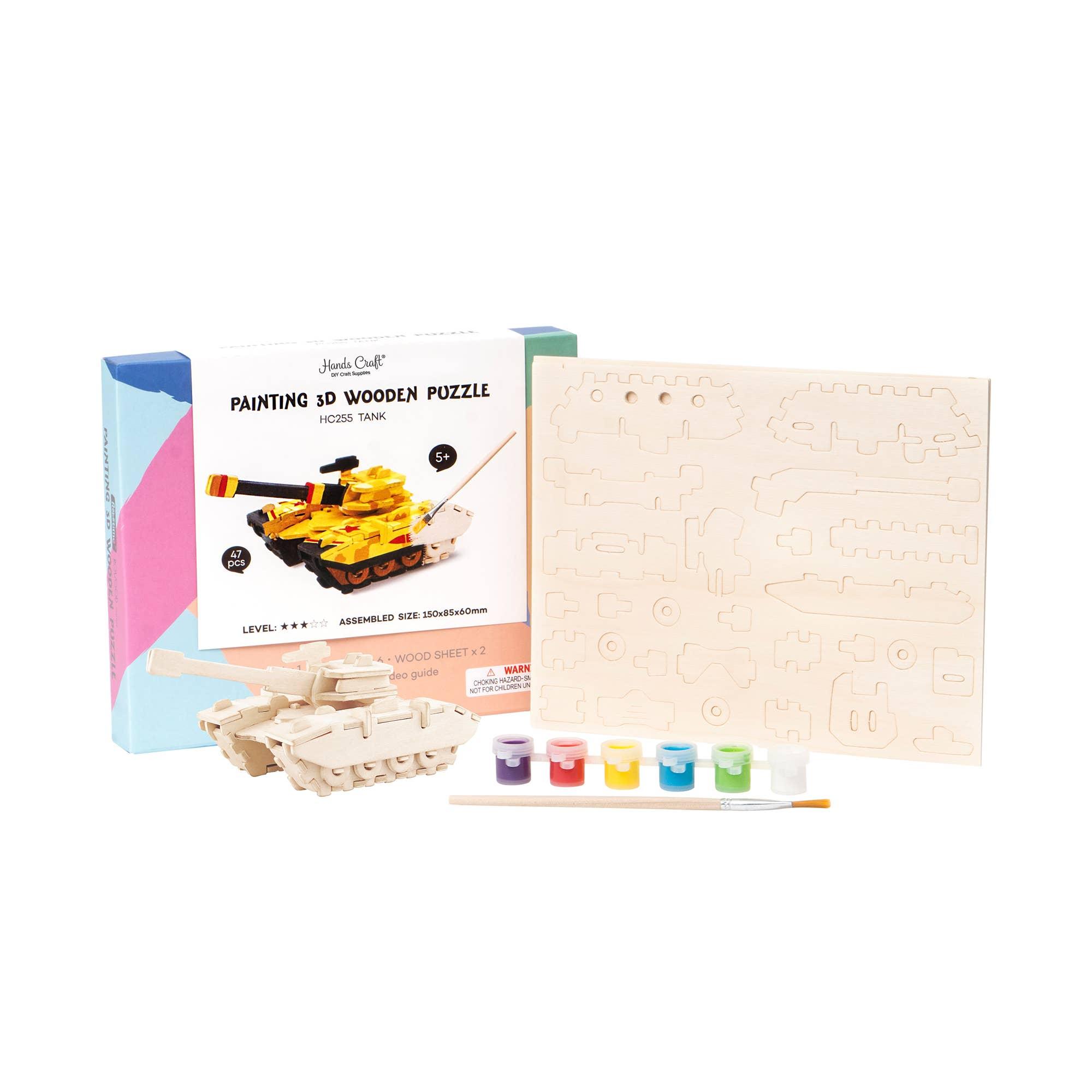 3D Wooden Puzzle Paint Kit: Tank