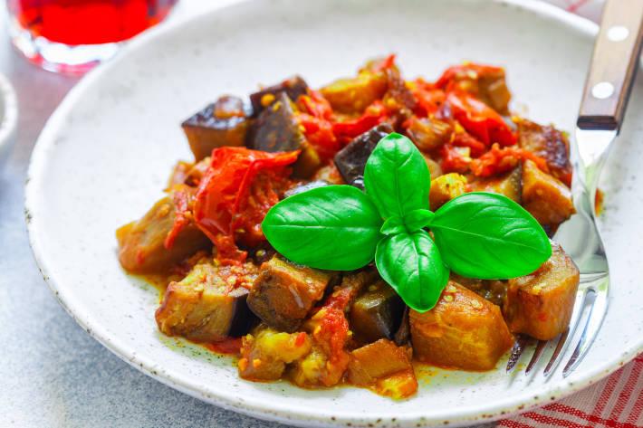 Sicilian Aubergine and Tofu Stew
